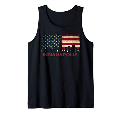 Indianapolis Indiana City Skyline Art USA Bandera Americana Camiseta sin Mangas