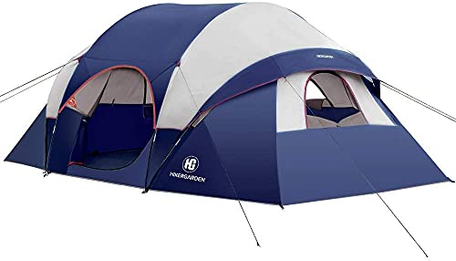 HIKERGARDEN Camping Tent - 2021 Upgraded 6/10 Person Tent for Camping Waterproof, Family Tent, Windproof Fabric, Easy Setup with Large Mesh for Ventilation, Double Layer and Divided Curtain