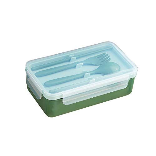 Insulated Lunch Box, Sealed Compartment and Leak-Proof Storage Lunch Box, Reusable Portable Tableware Food Storage Box, Blue-Green-Brown, Suitable for Office and School Outdoor,Green