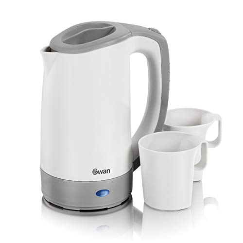 Swan Dual Voltage Travel Kettle with Two Tea Cups, 0.5 Litre Capacity, 125-600 W, Lightweight, White/Grey, SK19011N