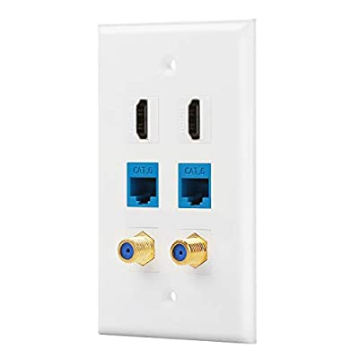 IBL- Cat6 Ethernet Port and Gold-Plated Cable TV Coax F Type and HDMI Wall Plate (White)