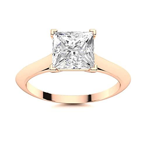 Juego de cuatro puntas Anillo solitario de plata esterlina 925 con diamante de Moissanite cuadrado de 1.3 Ctw (Chapado en oro rosa, 25)
