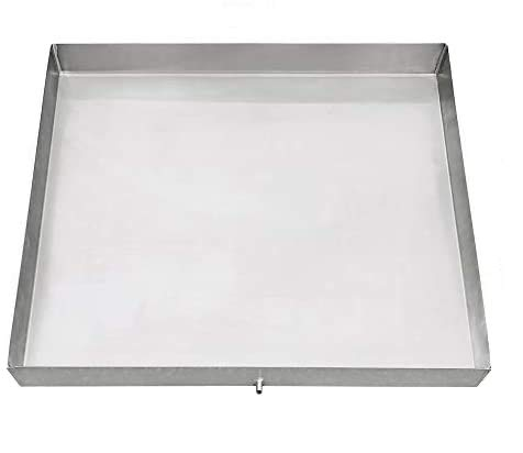 """32"""" x 30 3/8"""" Stainless Steel Washing Machine Drip Pan: No-Rust Avoid Water Damage & Mold – Washing Machine tray with Custom Sizes – Welded Corners Includes Drain Hole & Hose Adapter"""