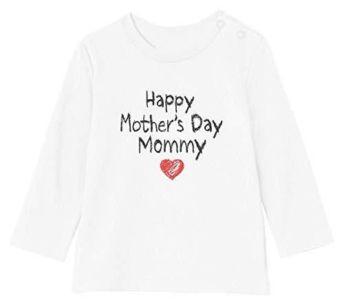 Green Turtle Happy Mother's Day Mommy - Fête des Mères T-Shirt Bébé Unisex Manches Longues 3-6M 60/66cm Blanc