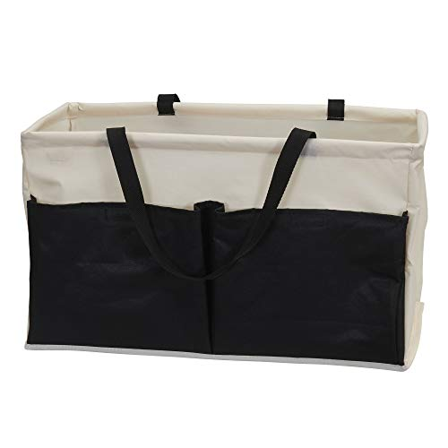 Household Essentials Natural Krush Canvas Utility Tote with Pockets | Reusable Grocery Bag Black