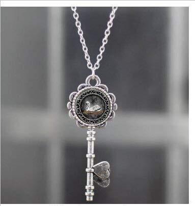Collar con colgante de cisne blanco, llave de Emma Swan Once Upon a Time, en joyería chapada en plata