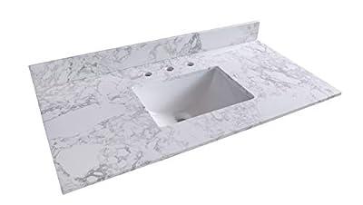 Okngr Marble Vanity Top, Vanity Top with Rectangular Ceramic Bathroom Sink and Back Splash for Bathroom, 43x22 Inch White Carrara Marble Countertop