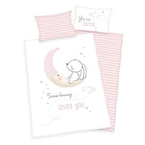 3 piezas. Ropa de cama para bebé/niños, diseño: pequeño conejito – renforcé 100 x 135 cm + 40 x 60 cm + 1 sábana bajera 70 x 140 cm – 100% algodón