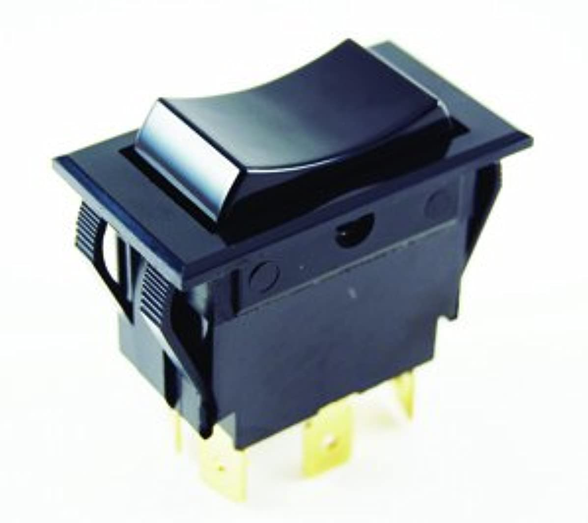 NTE Electronics 54-118 Nylon Snap-in Rocker Switch, DPDT Circuit, (ON)-Off-(ON) Action, Black Nylon Actuator, 0.250