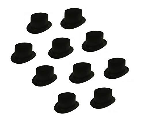 Sonnenscheinschuhe® Bigpack: 10 x Zylinder Hut schwarz Fastnacht Fasching Karneval Kostüm schwarzer Zylinderhut