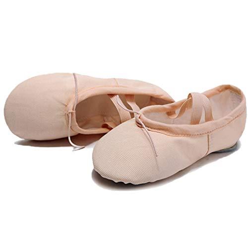 Ballet Slippers for Women Girls Canvas Split Sole Ballet Shoes Ballet Flats Yoga Dance Shoes Nude