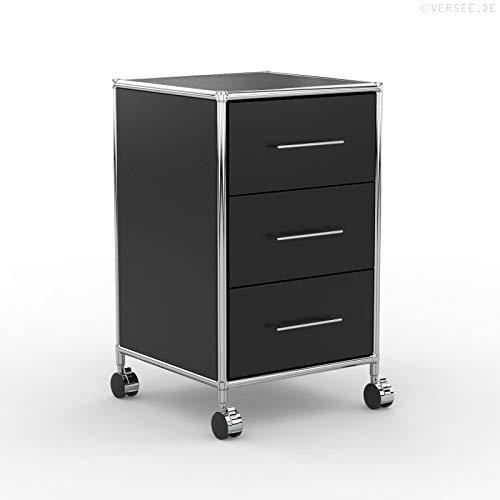 system8x Versee Profi Rollcontainer Design 40cm - Holz Dekor - schwarz - Rollen für weiche Böden - 3 Schubladen leise schließend + selbsteinzug, Bürocontainer, Rollschrank, Büroschrank, Metall Chrom