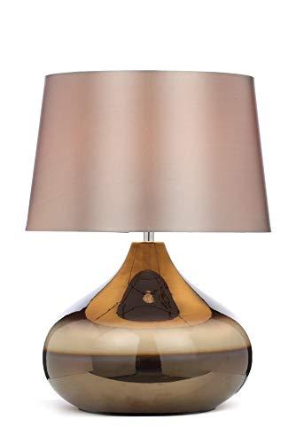 NARUJUBU Lámpara de mesa de cerámica de diseño de piedra clásica con sombra de imitación de seda, chocolate/champán