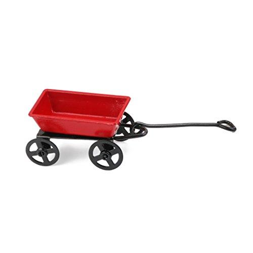 Chariot de Jardin en Métal Miniature pour 1:12 Maison de Poupée - Rouge