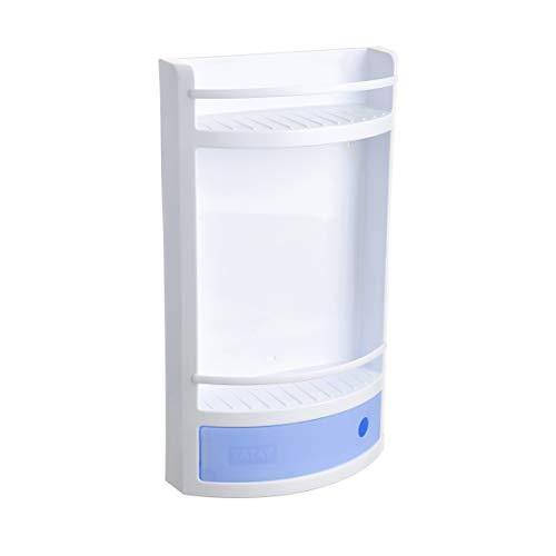 Tatay Estante Plano en Material plástico Blanco, con cajón en Azul translúcido sin pomo de práctica Apertura. Higiénico y fácil Mantenimiento. Medidas 29x11x51 cm