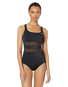 Nike Swim Women s Mesh Solid Edge V-Back One Piece Swimsuit Black Medium