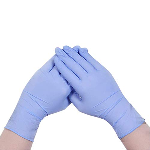 XVSSAA Disposable Nitrile Exam Gloves, Plastic Disposable Gloves, Industrial Glove, Food Service, Cleaning Glove 100 PCS (M, Blue)