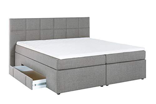 Furniture for Friends Möbelfreude® Boxspringbett Andybur mit Bettkasten Hell-Grau 180x200 cm H3 inkl. Visco-Topper, 7-Zonen Taschenfederkern-Matratze