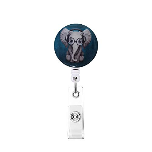 Cute Badge Reels Retractable with Alligator Clip ID Card Holders for Nurses,Teachers,Doctors,Office Ladies -Elephant
