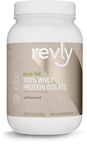 Amazon Brand - Revly 100% Grass-Fed Whey Protein Isolate Powder, Unflavored 31 Servings, Gluten Free, Non-GMO, No added rbgh/rbst‡, 2.05 Pound (Pack of 1)