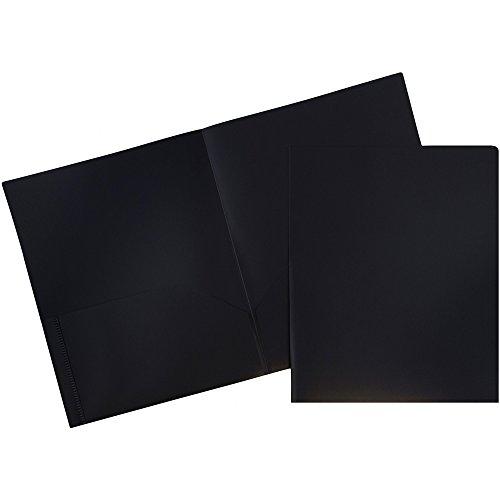 JAM PAPER Plastic 2 Pocket School POP Folders - Black - 6/Pack