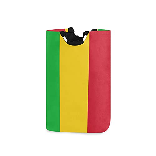 Großer Wäschekorb mit Mali-Flagge, wasserdicht, faltbar, aus Segeltuch, mit Handgriffen für Aufbewahrungskorb, Kinderzimmer, Zuhause, Kinderzimmer, Babykorb
