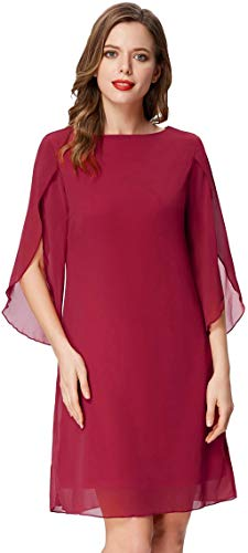 Women Summer Loose Beach Tunic Dress Casual Dress for Party Cocktail Red S