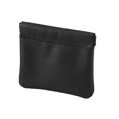 Fenical Geldbörse Leder Kopfhörer Tasche Kleine Kopfhörer Tragetasche (Schwarz)