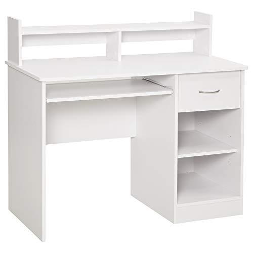 HOMCOM Computertisch Bürotisch Gamingtisch PC-Tisch mit Schublade E1 Spanplatte Weiß 104 x 48 x 95,5 cm