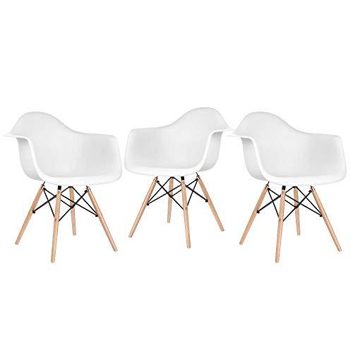 Kit - 3 x cadeiras Eames Daw - Branco - Madeira clara