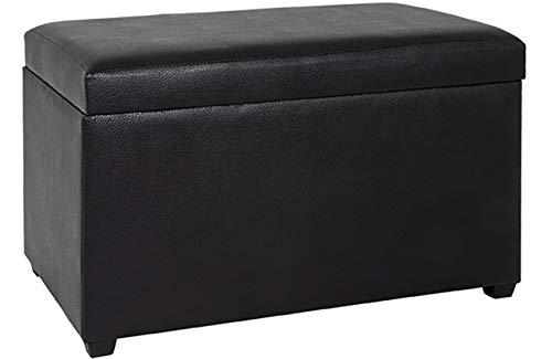 Haku Möbel Sitztruhe - MDF mit schwarzem Kunstleder-gepolsterte Sitzfläche H 42 cm