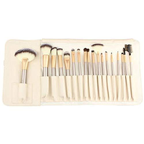 Brosse de maquillage Set Cosmetic Brush Set -18Pcs Trousse à outils professionnelle de pinceau de maquillage de Des pinceaux de chèvre avec une poche blanche pour la poudre pour les paupières Eyeliner