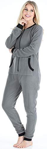 Sleepyheads Onesie, Einteiliger Schlafanzug für Damen aus Fleece ohne Fuß, bunter Einteiler, Overall, Grau mit Schwarz - 3