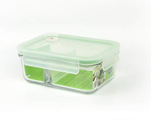 GLASSLOCK (MCRK-067A Rechteckige Vorratdose aus temperiertem Glas mit Ventil Box-to-go (670ml) Air Type - Mikrowellen