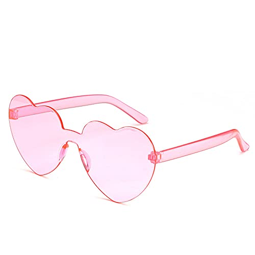 Gafas de sol sin montura de moda corazón de gran tamaño de una pieza en forma de corazón gafas de sol de colores para las mujeres, color Rosa, talla Medium