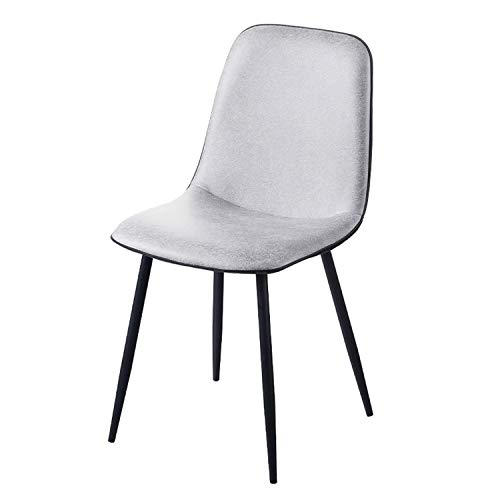 Upholstered Dining Chairs 1 Piece Faux Leather Kitchen Chair Comfortable Seat Metal Legs Reception Chairs with Backrest Soft Cushion (Color : Silver)