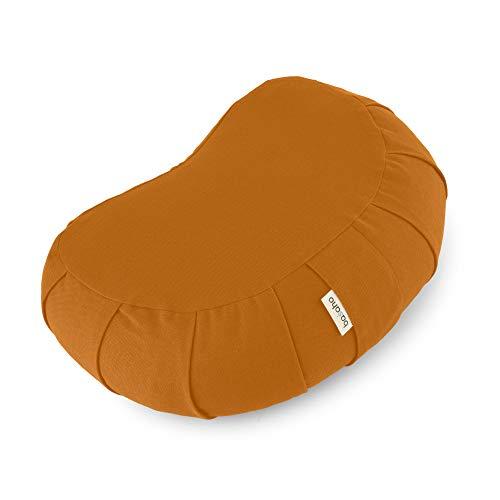 basaho Crescent Zafu Cuscino da Meditazione | Cotone Organico (Certificato GOTS) | Gusci di Grano Saraceno | Rivestimento Lavabile Rimovibile (Mango)