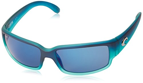 Costa Del Mar Men's Caballito Rectangular Sunglasses, Matte Caribbean Fade/Grey Blue Mirrored Polarized-580P, 59 mm