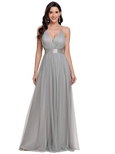 Ever-Pretty Vestidos de Noche Elegant A-línea Escote en V Largo Tul Sin Respaldo Mujer Gris 40