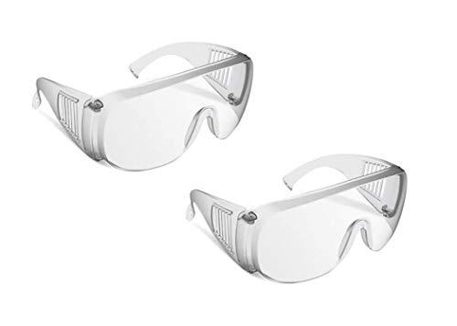 保護メガネ 飛沫感染予防 ウィルス対策 作業保護用 アイゴーグル 安全ゴーグル 防じんメガ 軽量 透明 花粉症 防塵ゴーグル 医療 (2個セット)