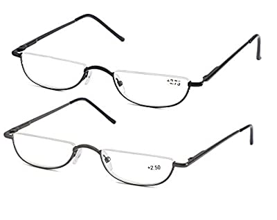 SOOLALA Vintage Designer Alloy Flat Top Half Frame Stylish Slim Reading Glasses