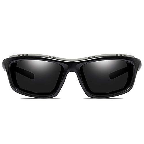 LCSD Gafas de sol para bicicleta escalada, material de policarbonato brillante, UV400, montura negra, lentes gris/verde, hombres y mujeres con las mis...