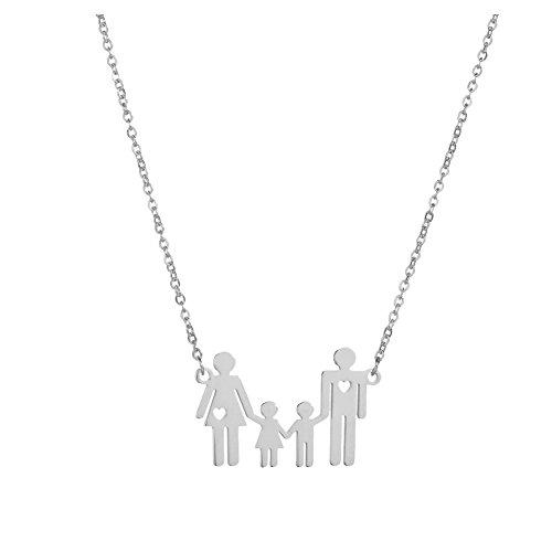Pu Ran - Collana girocollo da donna, catenina con ciondolo raffigurante una famiglia di 4 persone e Acciaio inossidabile, colore: Silver, cod. 3075