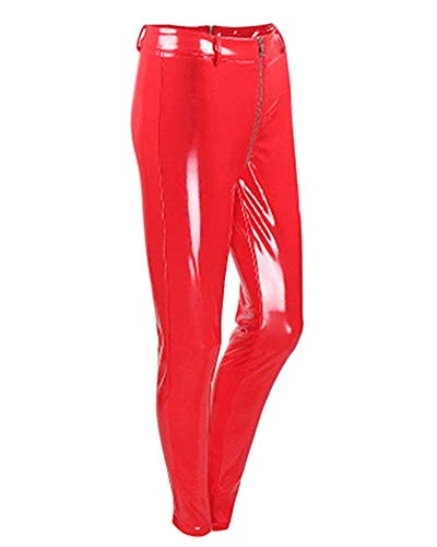 HX fashion Dames Leren Broek Elegante Chique Comfortabele Maten Lakleren Legging Stretch Skinny Met Rits Mode Cocktail Party Potlood Broek Dames Broek Rood