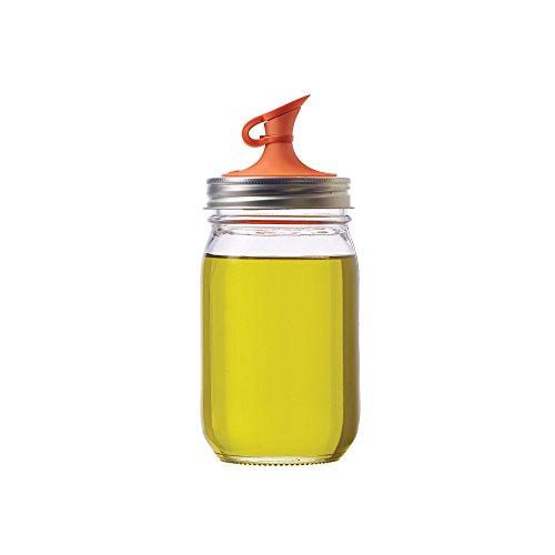 Jarware Oil Cruet Lid for Regular Mouth Mason Jars, Orange