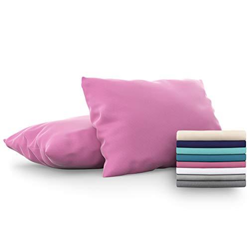 Dreamzie - Set de 2 x Funda de Almohada 50x70 cm, Rosa, Microfibra (100% Poliéster) - Fundas de Almohadas Hipoalergénica - Fundas de Cojines de Calidad con una Suavidad Incomparable