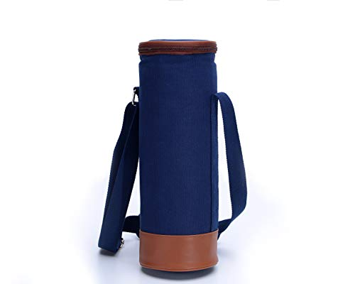 woodluv Wine/Champagne Insulated Carrier Bottle Holder Bag With Carry Handle & Shoulder Strap - Ideal for Travel or Picnic