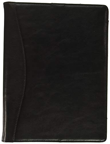 iCarryAlls Leather Organizer Padfolio with 3-Ring Binder, Fits Letter-Size/A4 Notepad,Black