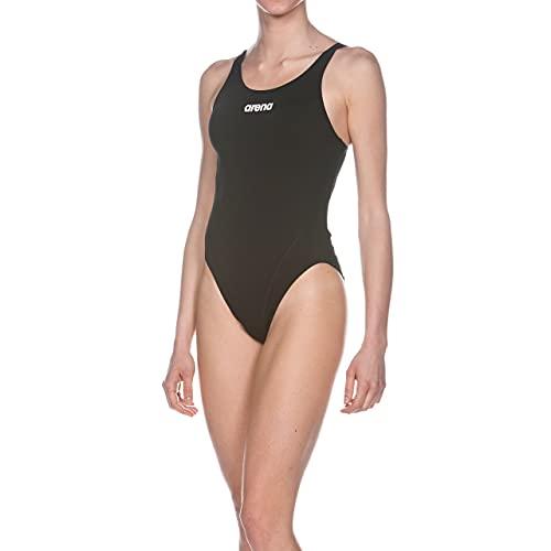ARENA Solid Swim Tech High Costume Intero Donna, Costume da Bagno Sportivo in Tessuto MaxLife con Massima Resistenza al Cloro e Protezione UV UPF 50+, 48 , Nero (Black-White)