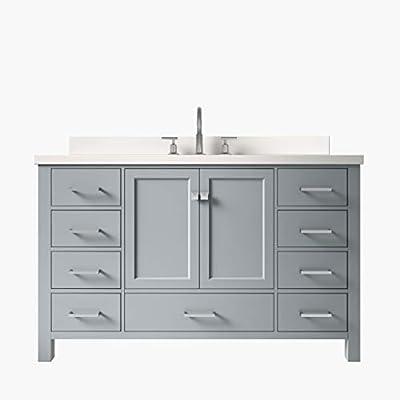 "ARIEL Cambridge 55"" Inch Bathroom Vanity in Gray with Single Rectangle Sink | Pure White Quartz Countertop |"